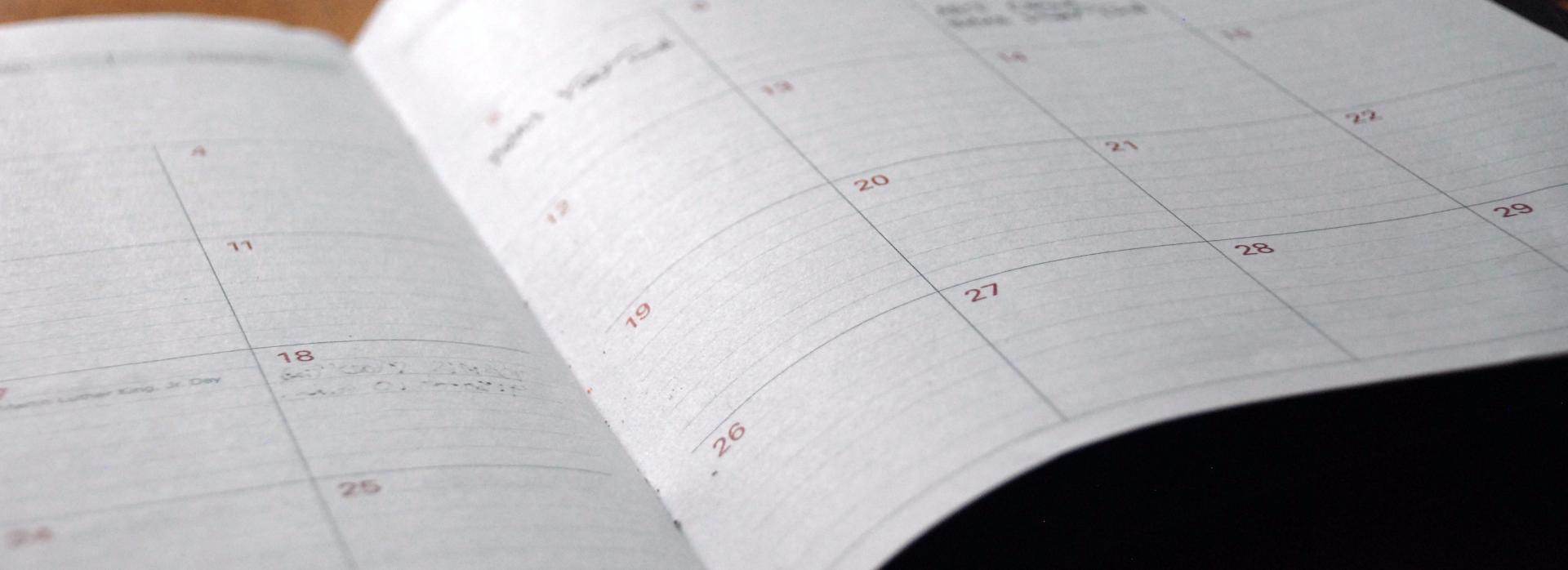 Careers calendar - planner page